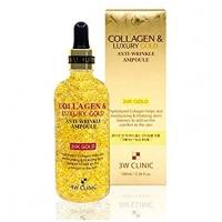 Сыворотка для лица с частицами 24к золота и гиалуроновой кислотой / 3W Clinic Colllagen & Luxury Gold Anti-Wrinkle Ampoule