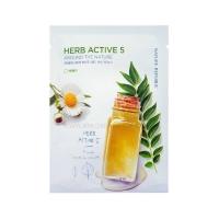 Тканевая маска для лица с комплексом растительных  экстрактов / Herb Active 5 Around The Nature Mask Sheet